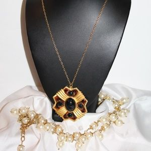Matte Gold Plate Laminated Black Necklace NC6
